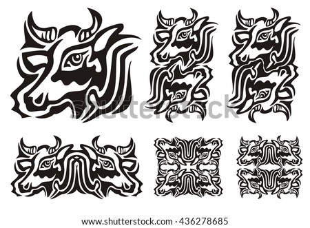Tribal cow symbols. Vector illustration of a cow black and white. The double twirled decorative symbols of the cow head isolated on a white background