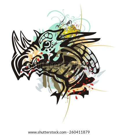 Tribal dragon head splashes. Grunge horned dragon head with floral splashes, tiger head and blood droops in tribal style - stock vector