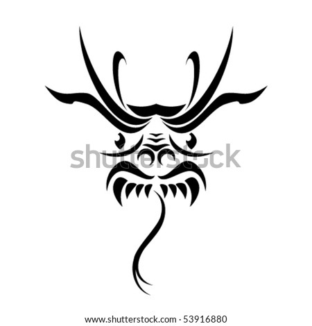 Tribal dragon tattoo. Vector illustration on white background.