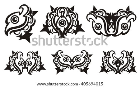 Tribal eagle eye and symbols from it. Ornate stylized peaked eagle head with an eye and the decorative elements formed from it. Black on the white - stock vector