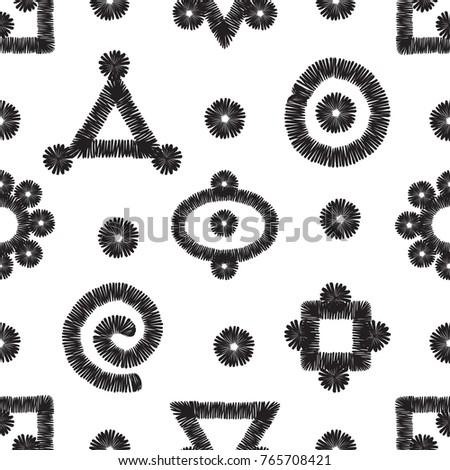 Tribal Embroidery Primitive Aztec Symbols Vector Stock Vector 2018