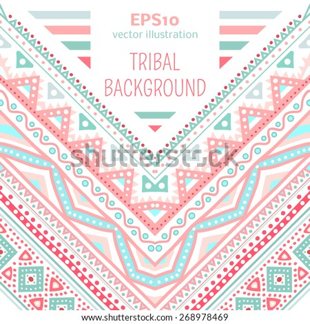 Tribal ethnic corner pattern. Vector illustration for your cute feminine romantic design. Aztec sign on white background. Pink and blue colors. Borders and frames. Pretty texture wallpaper. - stock vector
