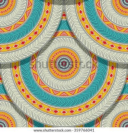 Tribal ethnic geometric seamless pattern design - stock vector