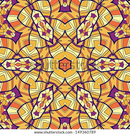 Tribal ethnic geometric seamless with symmetry details, looks like handmade lace in yellow and orange tones of color - stock vector