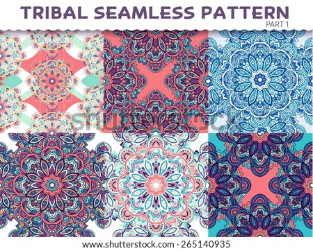 Tribal ethnic seamless pattern abstract background ornament illustration. Vector decorative retro banner of card. Vintage traditional, Islam, Arabic, Indian, ottoman motifs, elements. - stock vector