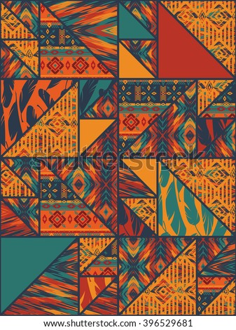 Tribal ethnic seamless pattern with geometric elements. Vector background. - stock vector