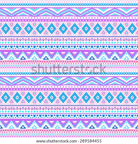 Tribal ethnic seamless stripe pattern. Vector illustration for your cute feminine romantic design. Aztec sign on white background. Pink and blue colors. Borders and frames. - stock vector