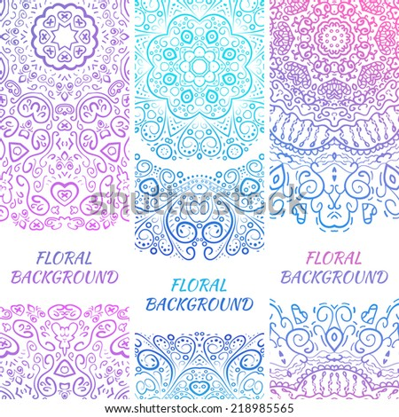 Tribal ethnic vintage banners. Illustration for your cute feminine romantic design. Aztec sign on white background. Pink and blue colors. Border and frame. Oriental rug napkin. Stripe pattern. - stock vector