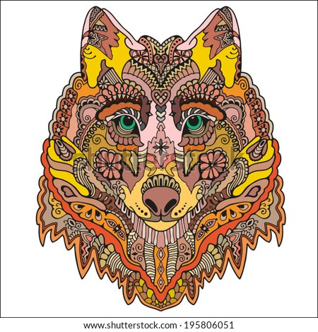 Tribal ethnic wolf totem, detailed colorful ornamental pattern, hand drawn abstract artwork in graphic style, isolated on white background - stock vector