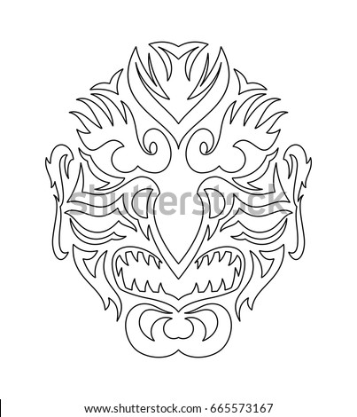 kabuki coloring pages | Tribal Evil Mask Japanese Tengu เวกเตอร์สต็อก 665573167 ...