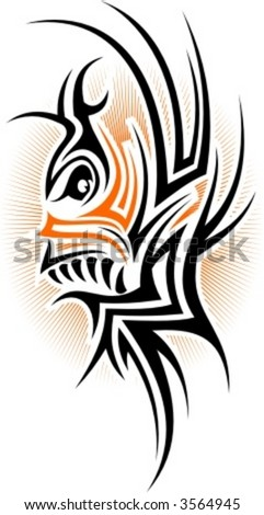 Tribal Fish. Vector Image. Ready for vinyl cutting. - stock vector