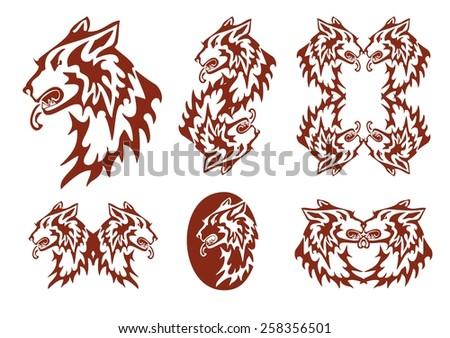 Tribal Flaming Dog Symbols Set Aggressive Stock Vector 2018