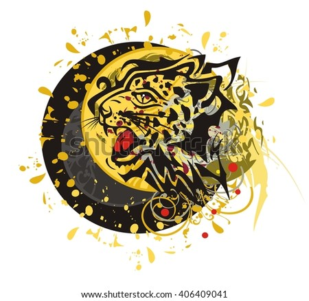 Tribal furious leopard head splashes with blood drops against the decorative sun ready for a tattoo, graphics on the vehicle, also for labels, stickers and emblems, T-shirt designs - stock vector