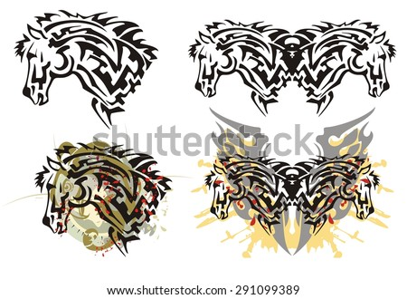 Tribal furious stallion head tattoos with splashes. Tattoos of the stallion head and the grunge stallion head with the eagle head and bloody splashes symbolizing power - stock vector