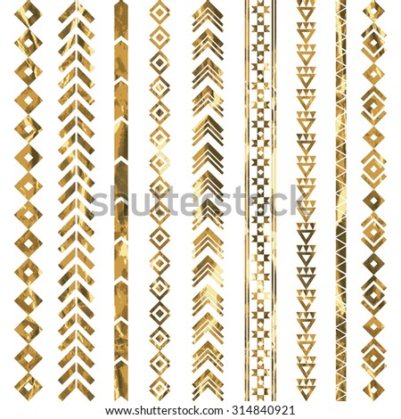 Tribal geometric gold pattern. Aztec and Navajo gold ornament. Tribal gold tattoo. Vector ink illustration - stock vector