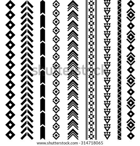 Tribal geometric pattern. Aztec and Navajo ornament. Tribal tattoo. Aztec flash tattoo. Vector ink illustration - stock vector