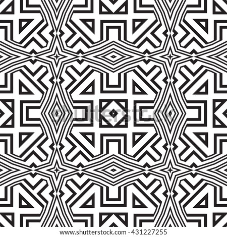 Tribal geometric vector pattern. Seamless ethnic black and white background - stock vector
