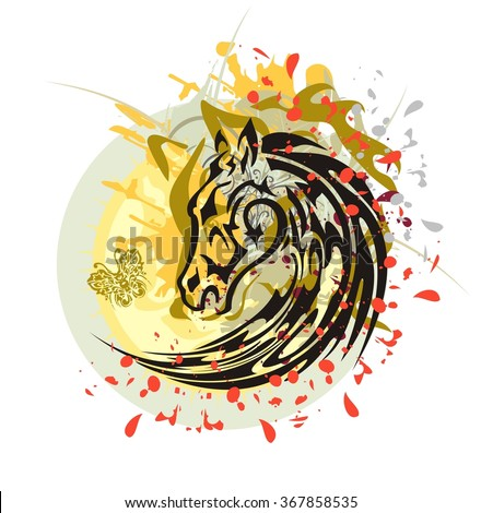 Tribal horse splashes against the sun. Flaming black horse head with the wolf head, floral splashes and blood drops against the decorative sun with a butterfly - stock vector