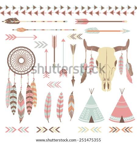 Tribal Indian Elements - stock vector