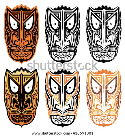 tribal indian totem scary halloween face masks  - stock vector