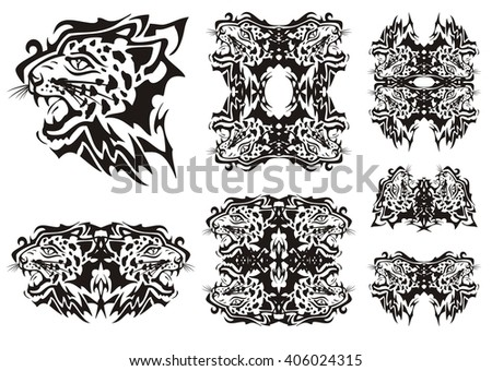 Tribal leopard symbols. Tribal furious leopards heads symbols and frames ready for a tattoo, graphics on the vehicle, also for labels, stickers and emblems, T-shirt designs - stock vector