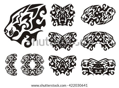 Tribal lion head symbols and lions butterflies. Flaming two-headed lion, butterflies formed by the head of a lion and other lion's symbols. Black on the white - stock vector