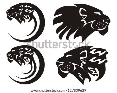 Tribal lion symbols, vector - stock vector