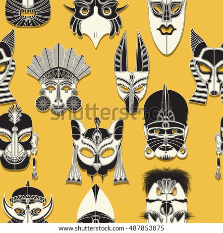 Tribal mask seamless pattern design