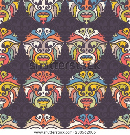 Tribal mask seamless pattern. Unique cultural vector background design. Traditional african and polynesian totem symbols.  - stock vector