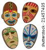 Tribal masks collection - vector illustration. - stock vector