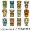 Tribal masks of idols and demons for religious or ethnic design. Jpeg version also available in gallery - stock vector