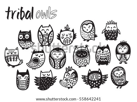 Tribal Owl Birds Set Hand Drawn Stock Vector (Royalty Free ...