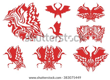 Tribal red stork symbols. Set of the flaming symbols of the flying and walking stork, double stork symbols - stock vector