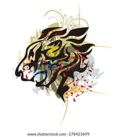 Tribal roaring lion head with splashes and blood drops. Grunge flaming lion head splashes and blood drops isolated on a white background - stock vector