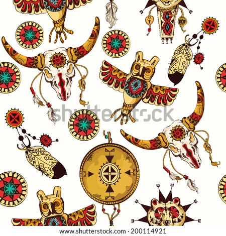 Tribal seamless background set with indian feather dreamcatchers and tribal animal totems vector illustration - stock vector