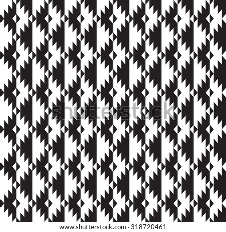 Tribal seamless black and white geometric pattern. - stock vector