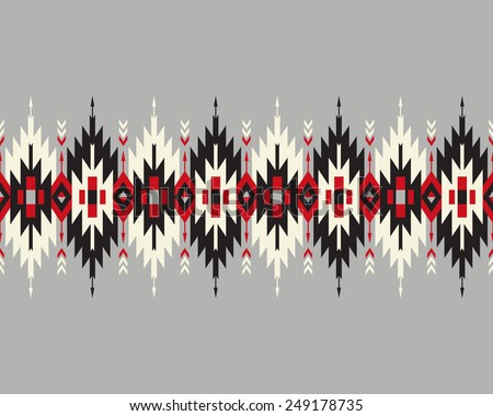 Tribal seamless colorful geometric border with indian arrows. - stock vector