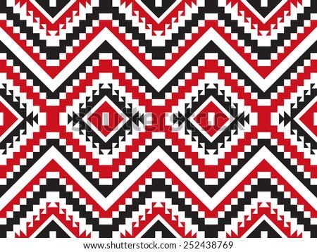 Tribal seamless red and black geometric pattern. - stock vector