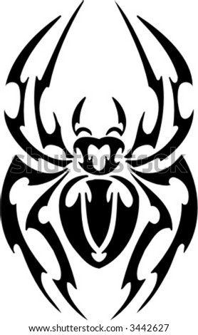 tribal spider tattoo design ready for vinyl cutting stock vector. Black Bedroom Furniture Sets. Home Design Ideas