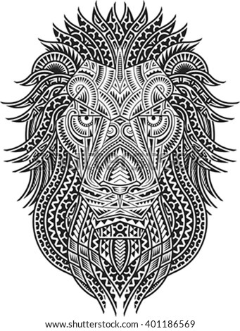 Tribal styled tattoo pattern in shape of a lion head. Fit for a shoulder or chest. Editable vector illustration. - stock vector