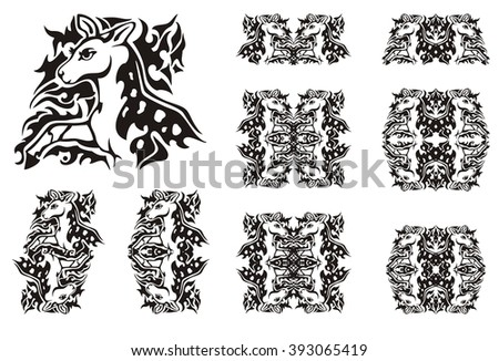 Tribal symbols of a little spotty deer. Silhouette of the young deer walking forward against the nature and decorative patterns from him - stock vector
