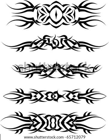 Tribal Tattoo Arm Band Set - stock vector