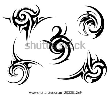 Tribal tattoo elements - stock vector