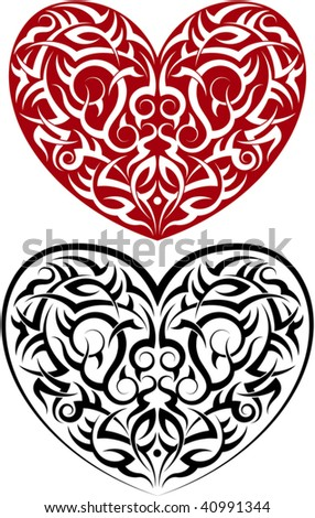 Tribal tattoo heart - stock vector