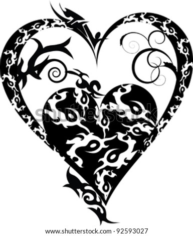 Tribal tattoo heart ,black isolated on white - stock vector