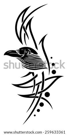 Tribal Tattoo with crow, raven  - stock vector