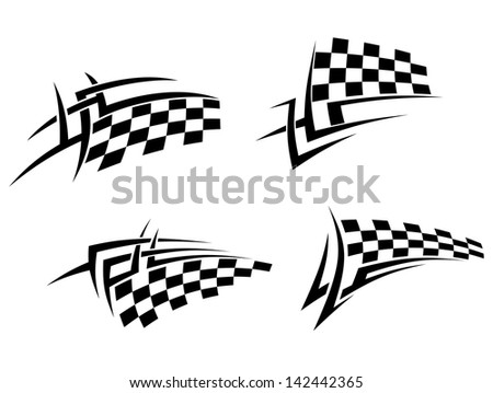 Tribal tattoos set with racing flag for sport design. Jpeg version also available in gallery  - stock vector