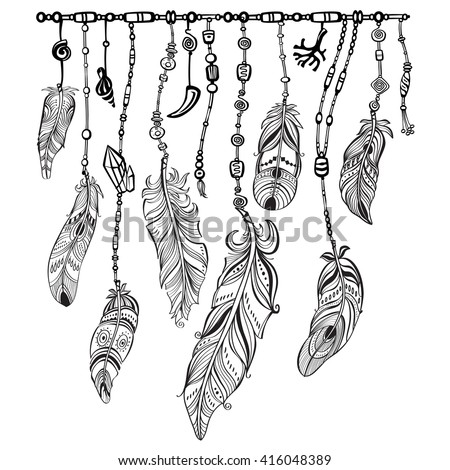 Tribal theme background with feathers - stock vector