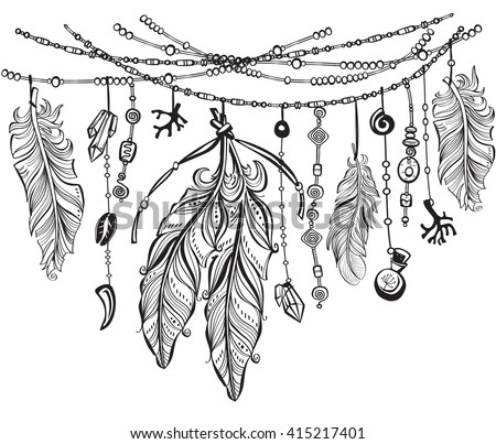 Tribal theme background with feathers. Elements in native style for greeting card and postcard. Henna Mehndi Tattoo and Tattoo design. Pattern for coloring book.   - stock vector