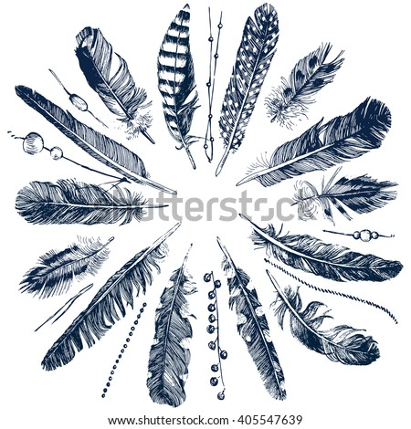Tribal theme background with hand drawn feathers